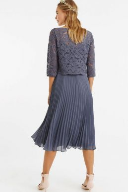 Oasis Ellie Lace Top Pleated Midi Dark Grey