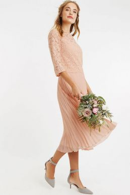 Oasis Ellie Lace Top Pleated Midi Dusty Pink