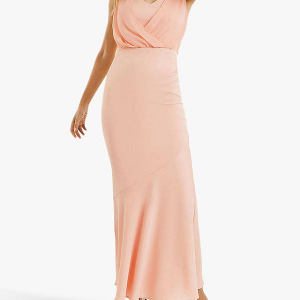 Oasis Emily Bow Back Bridesmaid Maxi Dress Dusty Pink