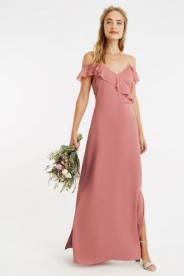 Oasis Ruffle Satin Maxi Bridesmaid Dress Pale Pink Blush
