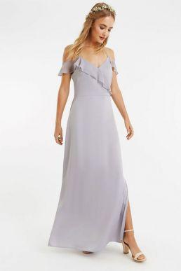 Oasis Ruffle Satin Maxi Bridesmaid Dress Pale Grey