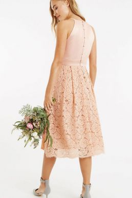 Oasis Satin Bodice Lace Midi Bridesmaid Dress Dusty Pink