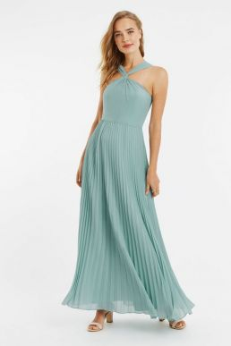 Oasis Twist Slinky Maxi Bridesmaid Dress Mint