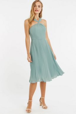 Oasis Twist Slinky Short Bridesmaid Dress Mint Green