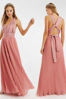 Oasis Wear Your Own Way Pleated Multiway Bridesmaid Maxi Blush Pale Pink