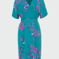 Phase Eight Brooke Floral Dress Jade Blue Purple Violet
