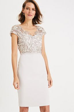 Phase Eight Charlotte Lace Dress Cream Latte