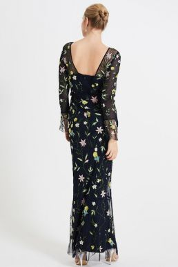 Phase Eight Mallory Embroidered Maxi Dress Navy Multi