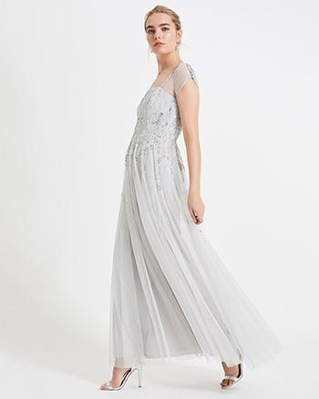 Phase Eight Mara Sequin Maxi Dress, Silver