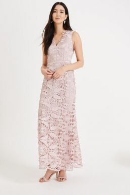 Phase Eight Zoey Lace Maxi Dress Pink Blush