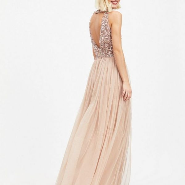 MAYA Cut Out Back Sequin and Tulle Maxi Dress