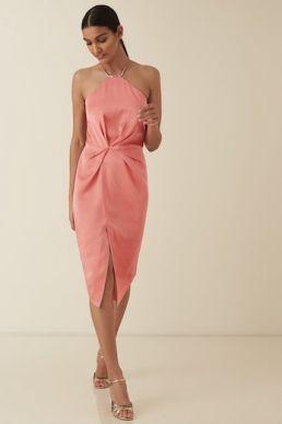 Reiss Paola halter cocktail strappy satin dress Coral Pink Orange