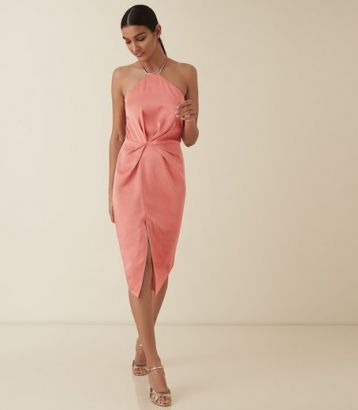 Reiss Paola halter cocktail strappy satin dress Coral Pink Orange