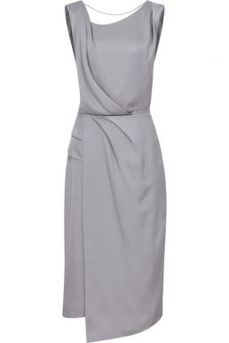 Reiss Karina cross back cocktail dress Steel Grey Silver