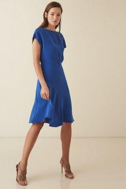 Reiss Victoria capped sleeve midi dress Blue