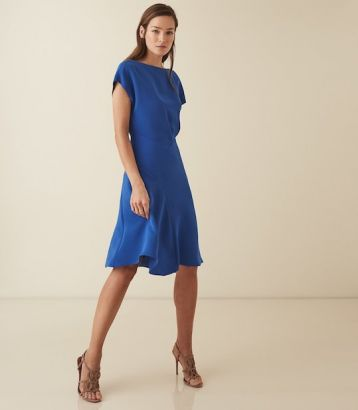 Reiss Victoria capped sleeve midi dress Blue