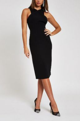 River Island Black cross high neck bodycon midi dress
