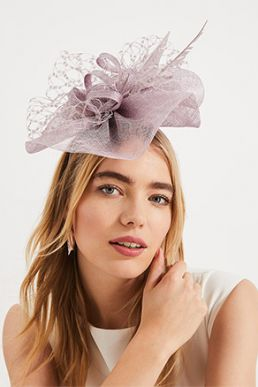 Phase Eight Sian Lace Bow Detail Fascinator Mauve Purple