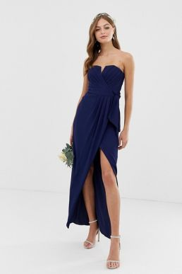 TFNC bridesmaid bandeau wrap maxi pleated dress pleated navy