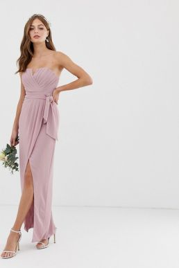TFNC bridesmaid bandeau wrap maxi pleated dress pleated pink