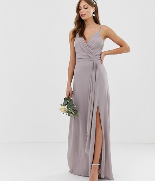6fae4267c9 TFNC bridesmaid exclusive cami wrap maxi dress with fishtail in grey