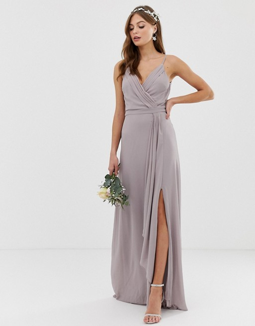 ae6adebe6a4 TFNC bridesmaid exclusive cami wrap maxi fishtail dress