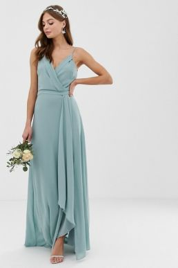TFNC bridesmaid exclusive cami wrap maxi fishtail dress sage green
