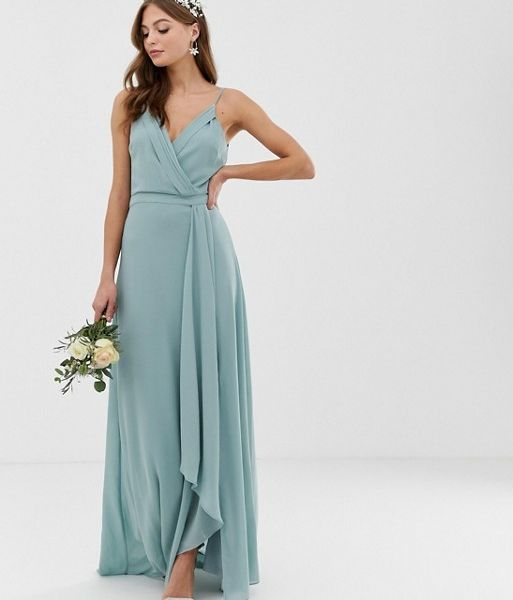 6b16a40955 TFNC bridesmaid exclusive cami wrap maxi fishtail dress sage green