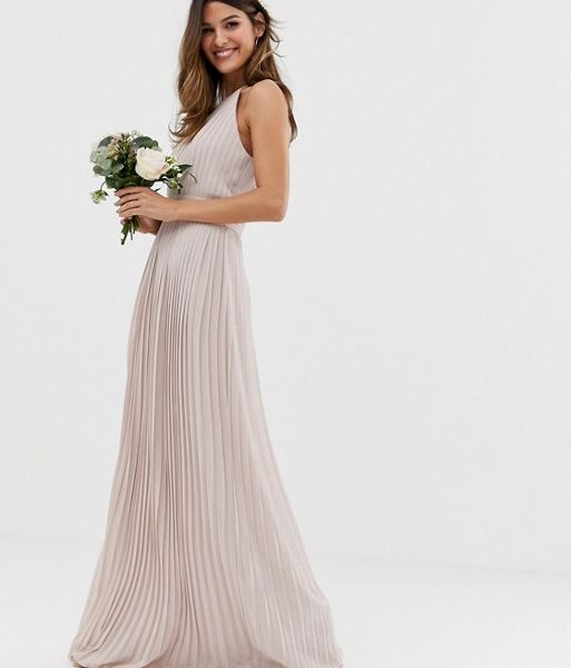 15e340ae TFNC bridesmaid exclusive high neck pleated maxi dress in taupe ...