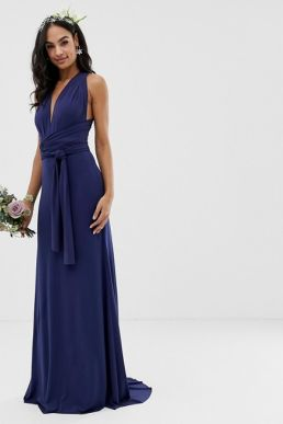 TFNC bridesmaid exclusive multiway maxi dress in navy