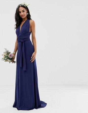 TFNC bridesmaid exclusive multiway maxi dress in navy