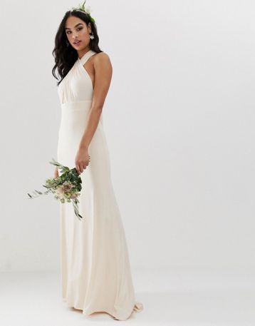 TFNC bridesmaid exclusive multiway maxi dress in pearl pink
