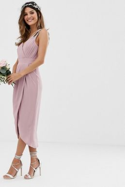TFNC bridesmaid exclusive wrap midi dress pink