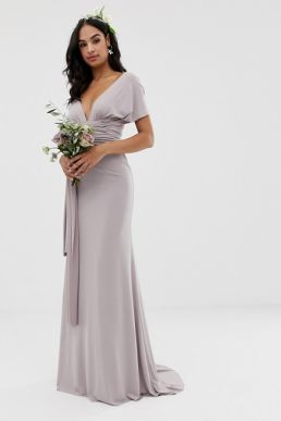 TFNC multiway maxi Bridesmaid dress grey silver
