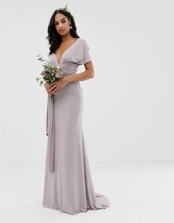 TFNC multiway maxi Bridesmaid dress grey silver