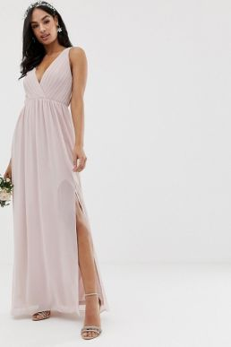 TFNC pleated maxi bridesmaid dress with back detail taupe