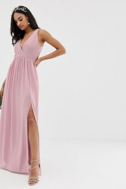 TFNC pleated maxi bridesmaid dress with back detail pink
