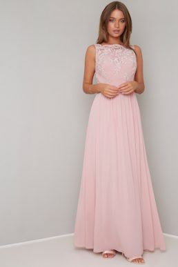 Chi Chi Esra Lace Maxi Bridesmaid Dress Pink Blush