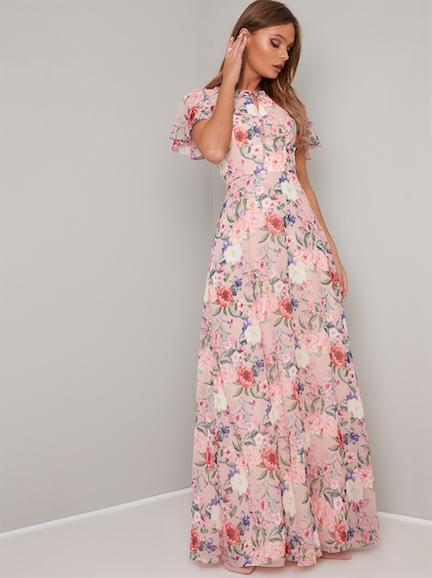 5f5c688c8113 Chi Chi Freida Floral Frill Maxi Dress, Pink/Multi   myonewedding.co.uk
