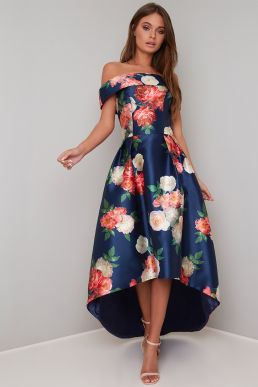 Chi Chi Kerris Floral Bardot High Low Dress Blue Multi