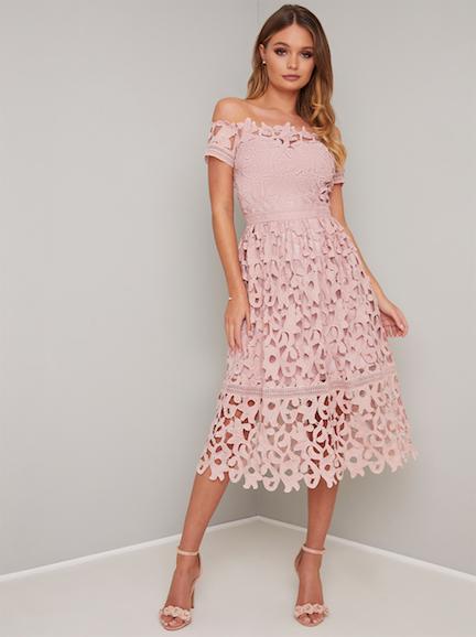 Chi Chi Lizia Lace Off The Shoulder Dress Pink Blush