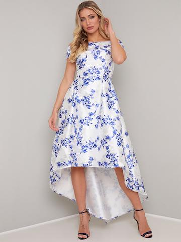 393ba839782e Chi Chi Simone Floral Bardot High Low Dress, Blue/White ...