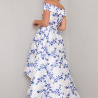 Chi Chi Simone Floral Bardot High Low Dress Blue White