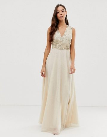 ASOS DESIGN Bridesmaid maxi dress pearl and sequin embellished bodice Champagne