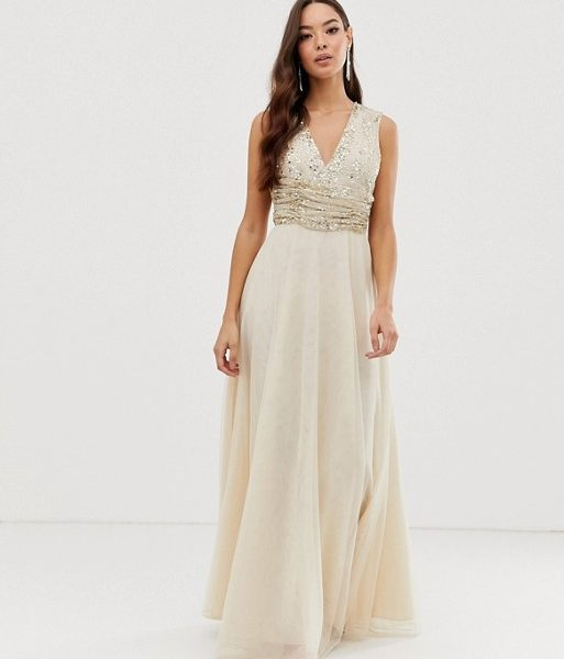 702f809151d ASOS DESIGN Bridesmaid maxi dress pearl and sequin embellished bodice  Champagne