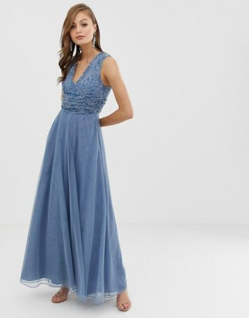 ASOS DESIGN Bridesmaid maxi dress with pearl and sequin embellished drape bodice blue