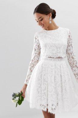 ASOS EDITION crop top lace mini wedding dress white