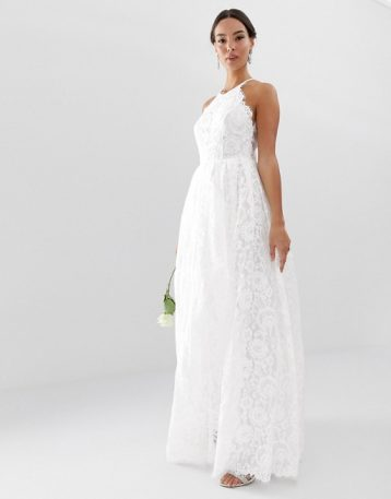 ASOS EDITION lace halter neck maxi wedding dress Ivory