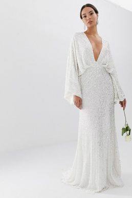 ASOS EDITION sequin kimono sleeve wedding dress White