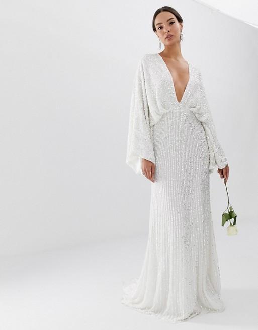 9431db185b ASOS EDITION sequin kimono sleeve wedding dress, White | myonewedding.co.uk